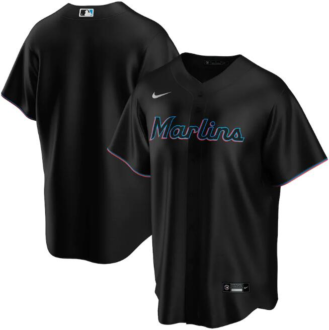 Men's Miami Marlins Blank Black Cool Base Stitched Jersey