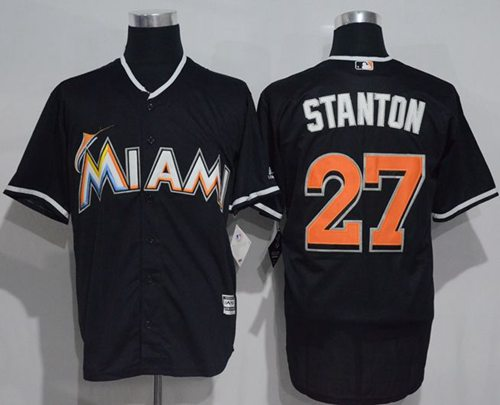 marlins #27 Giancarlo Stanton Black New Cool Base Stitched MLB Jersey