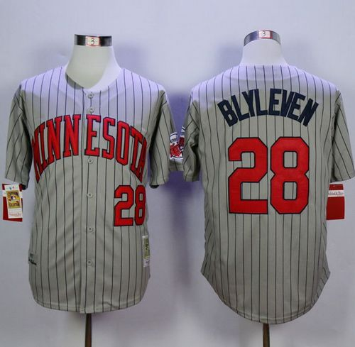Mitchell And Ness 1987 Twins #28 Bert Blyleven Grey Throwback Stitched MLB Jersey