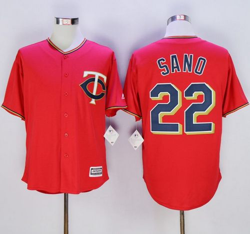 Twins #22 Miguel Sano Red New Cool Base Stitched MLB Jersey