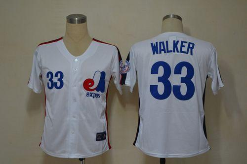 Mitchell And Ness Expos #33 Larry Walker White Throwback Stitched MLB Jersey
