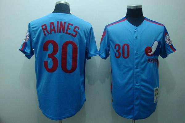 Mitchell and Ness Expos #30 Tim Raines Stitched Blue Throwback MLB Jersey