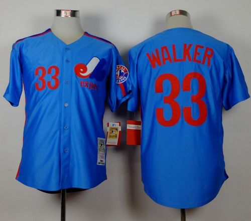 Mitchell and Ness Expos #33 Larry Walker Blue Stitched Throwback MLB Jersey