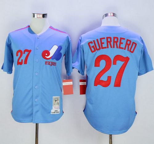 Mitchell and Ness Expos #27 Vladimir Guerrero Blue Stitched MLB Jersey