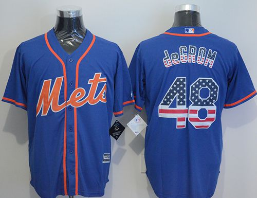 Mets #48 Jacob DeGrom Blue USA Flag Fashion Stitched MLB Jersey