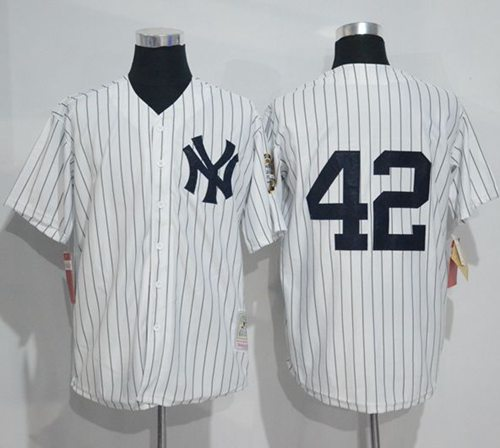 Mitchell And Ness Yankees #42 Mariano Rivera White Strip Throwback Stitched MLB Jersey