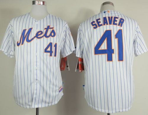 Mets #41 Tom Seaver White(Blue Strip) Home Cool Base Stitched MLB Jersey