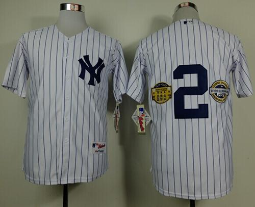 Yankees #2 Derek Jeter White W/Commemorative Final Season & Inaugural Season & Retirement Patch Stitched MLB Jersey