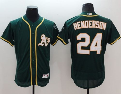 Athletics #24 Rickey Henderson Green Flexbase Authentic Collection Stitched MLB Jersey