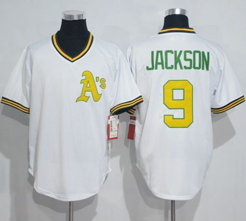 Mitchell And Ness Athletics #9 Reggie Jackson White Throwback Stitched MLB Jersey