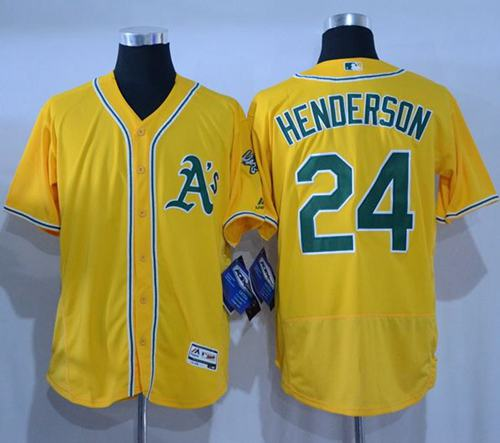 Athletics #24 Rickey Henderson Gold Flexbase Authentic Collection Stitched MLB Jersey