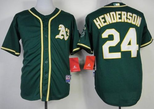 Athletics #24 Rickey Henderson Green Cool Base Stitched MLB Jersey