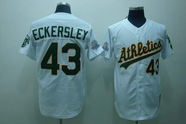 Mitchell and Ness Athletics #43 Dennis Eckersley Stitched White Throwback MLB Jersey