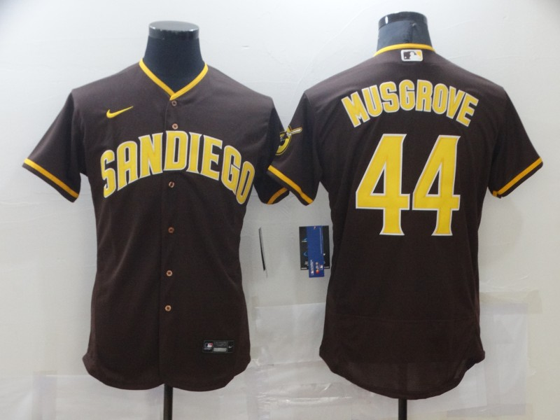 Men's San Diego Padres #44 Joe Musgrove 2020 Brown Flex Base Stitched MLB Jersey