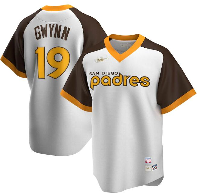 Men's San Diego Padres #19 Tony Gwynn White & Brown Cool Base Stitched Jersey