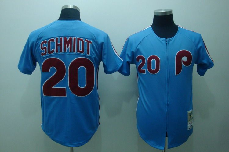 Mitchell and Ness Phillies #20 Mike Schmidt Stitched Blue Throwback MLB Jersey