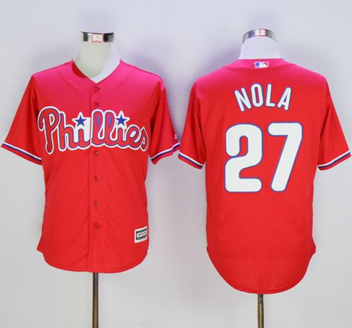 Phillies #27 Aaron Nola Red New Cool Base Stitched MLB Jersey