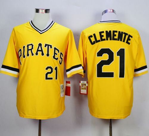 Mitchell and Ness 1971 Pirates #21 Roberto Clemente Yellow Throwback Stitched MLB Jersey