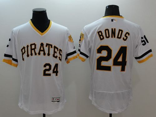 Pirates #24 Barry Bonds White Flexbase Authentic Collection Cooperstown Stitched MLB Jersey