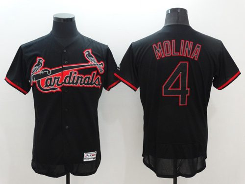 Cardinals #4 Yadier Molina Black Fashion Flexbase Authentic Collection Stitched MLB Jersey