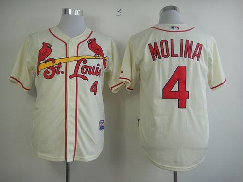 Cardinals #4 Yadier Molina Cream Alternate Cool Base Stitched MLB Jersey