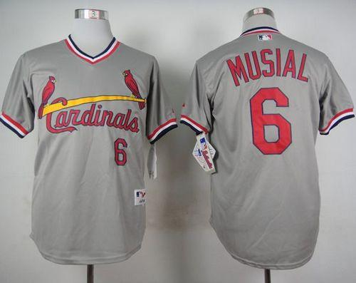 Cardinals #6 Stan Musial Grey 1978 Turn Back The Clock Stitched MLB Jersey