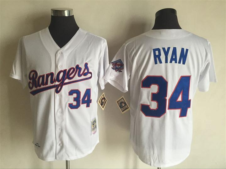 Men's Texas Rangers #34 Nolan Ryan Mitchell And Ness White Throwback Stitched MLB Jersey