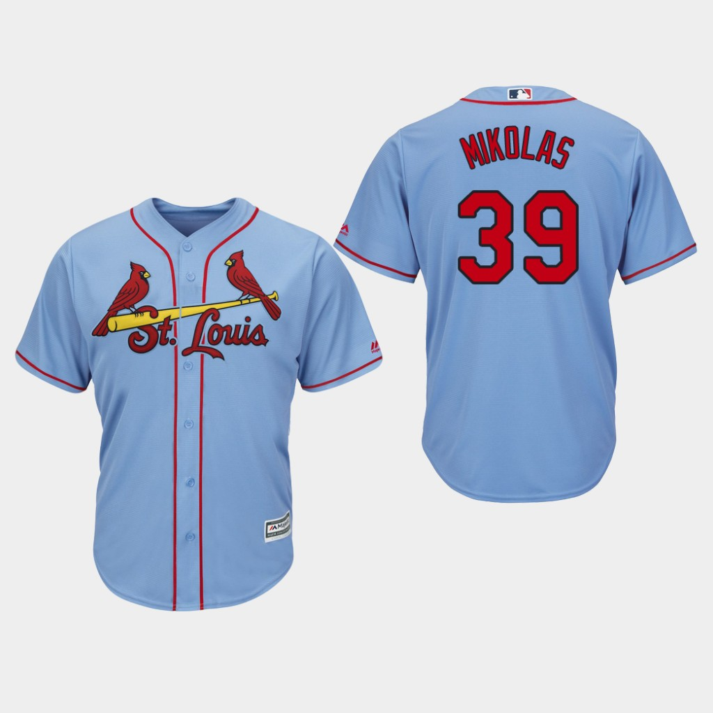 49186af95 Men s St. Louis Cardinals  39 Miles Mikolas Blue Cool Base Stitched MLB  Jersey