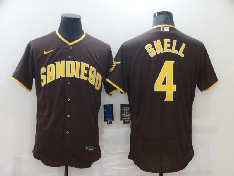 Men's San Diego Padres #4 Blake Snell 2020 Brown Flex Base Stitched MLB Jersey