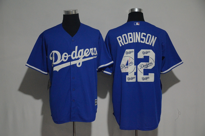 Men's Los Angeles Dodgers #42 Jackie Robinson Blue Team Logo Print Cool Base Stitched MLB Jersey