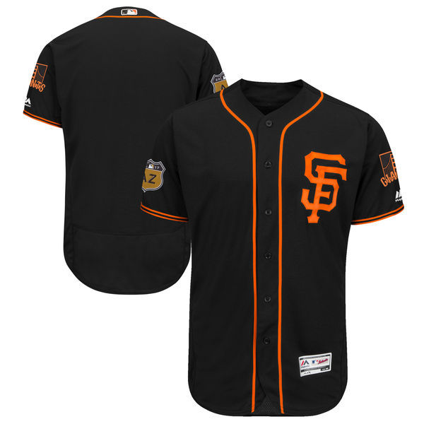 Men's San Francisco Giants Majestic Black 2017 Spring Training Authentic Flex Base Team Stitched MLB Jersey