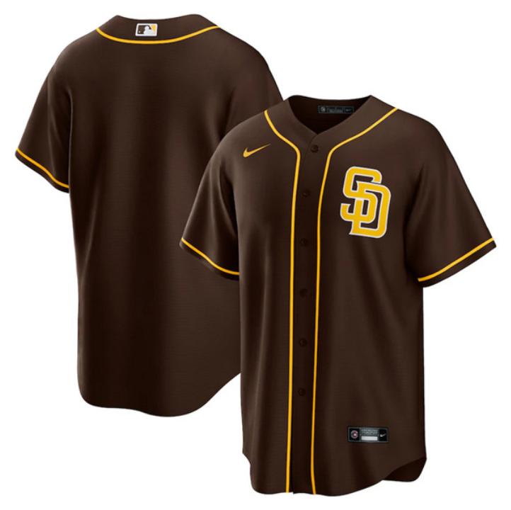 Men's San Diego Padres Brown Cool Base Stitched Jersey