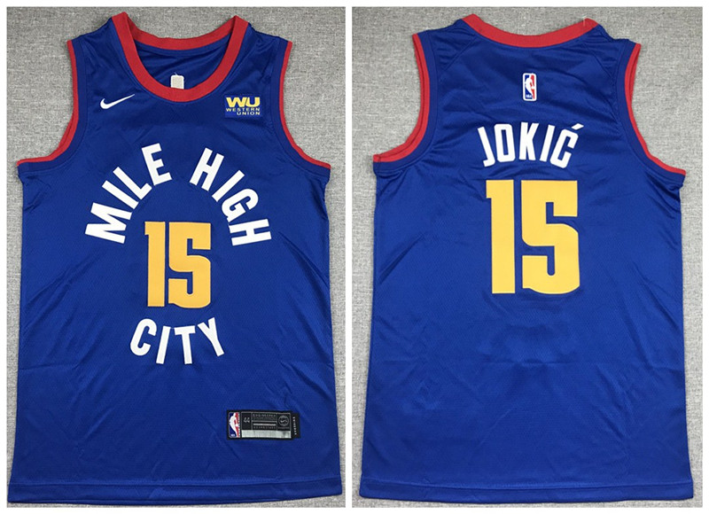 Men's Denver Nuggets #15 Nikola Jokic Blue Stitched Jersey