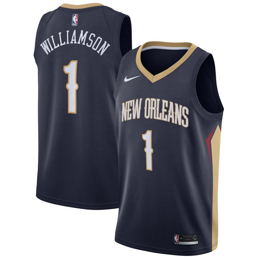 Men's New Orleans Pelicans #1 Zion Williamson Navy Stitched NBA Jersey