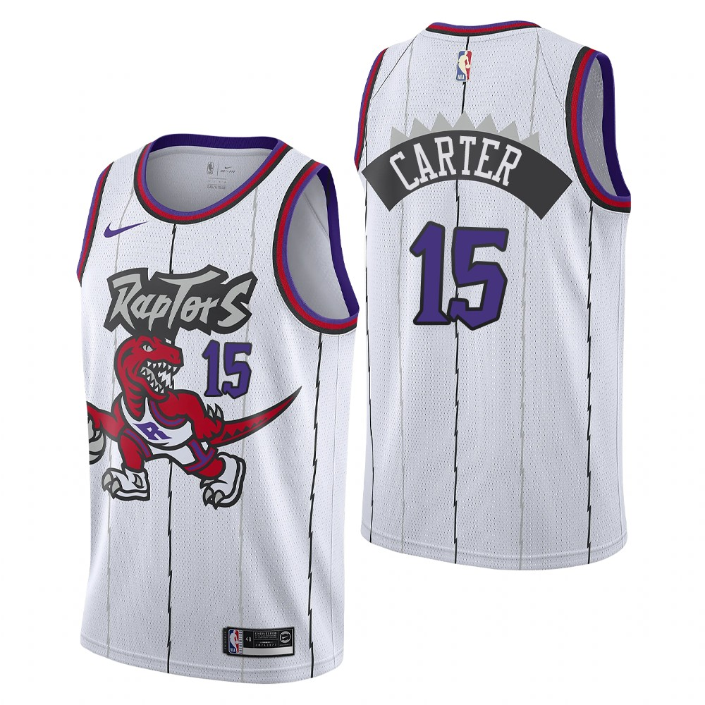 Men's Toronto Raptors #15 Vince Carter White Swingman Stitched NBA Jersey
