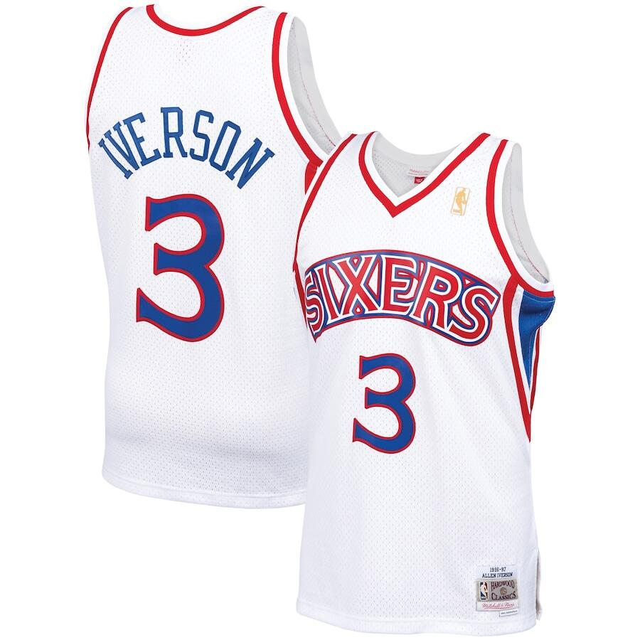 Men's Philadelphia 76ers #3 Allen Iverson White Mitchell & Ness 1996-97 Hardwood Classics Stitched Jersey