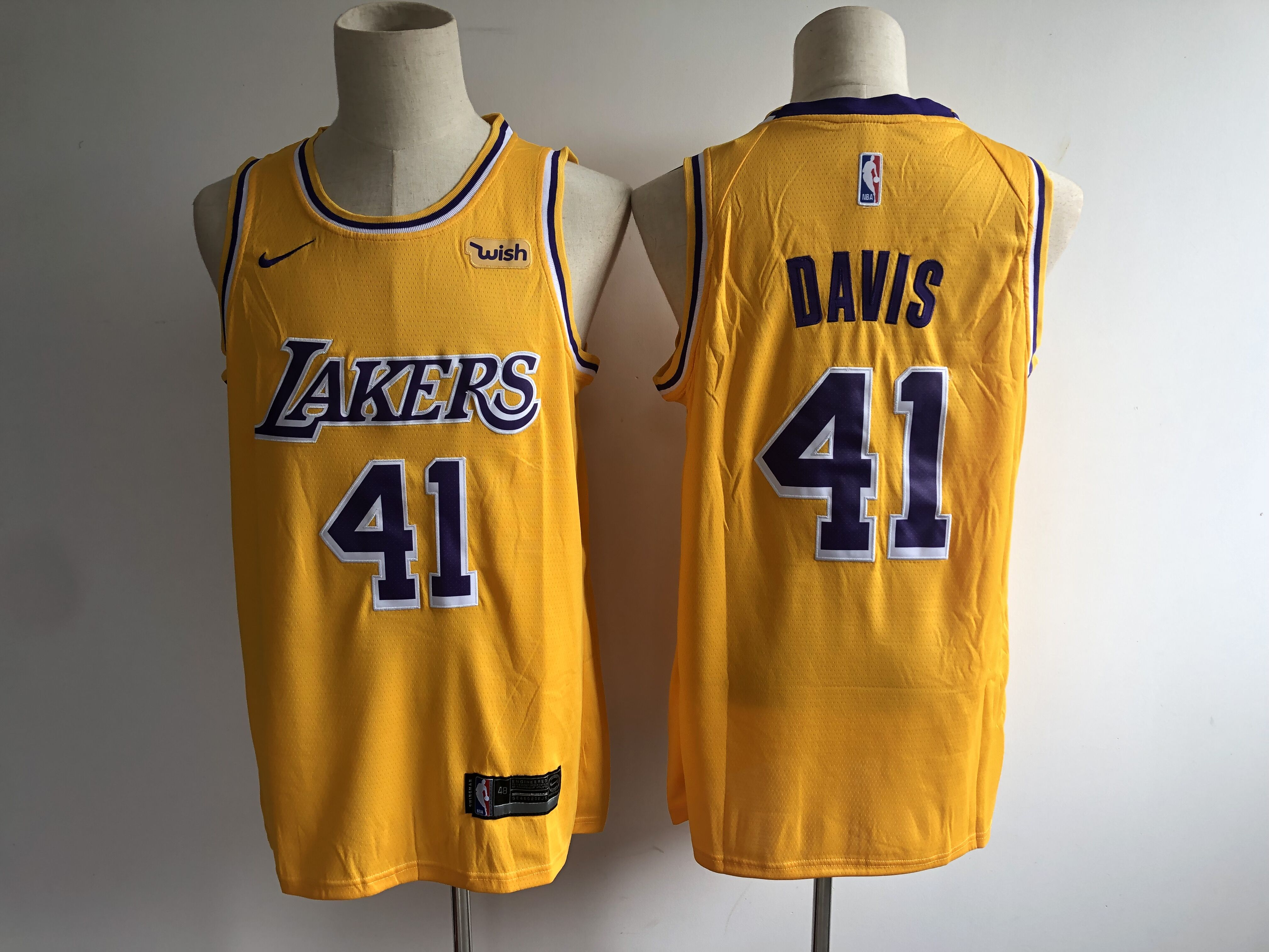 Men's Los Angeles Lakers #41 Anthony Davis New Gold Wish Stitched NBA Jersey