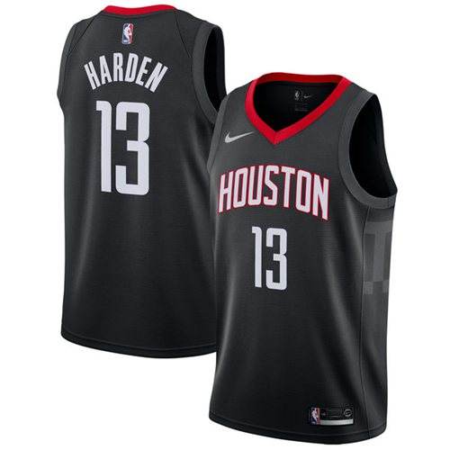 Men's Nike Houston Rockets #13 James Harden Black Swingman Statement Stitched NBA Jersey