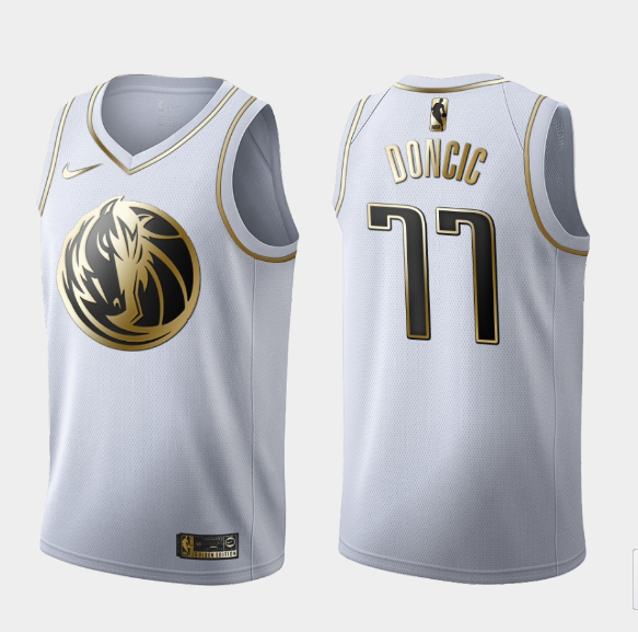 Men's Dallas Mavericks #77 Luka Doncic White 2019 Golden Edition Stitched NBA Jersey