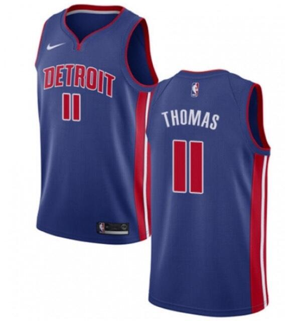 Men's Detroit Pistons #11 Isiah Thomas Blue Stitched NBA Jersey