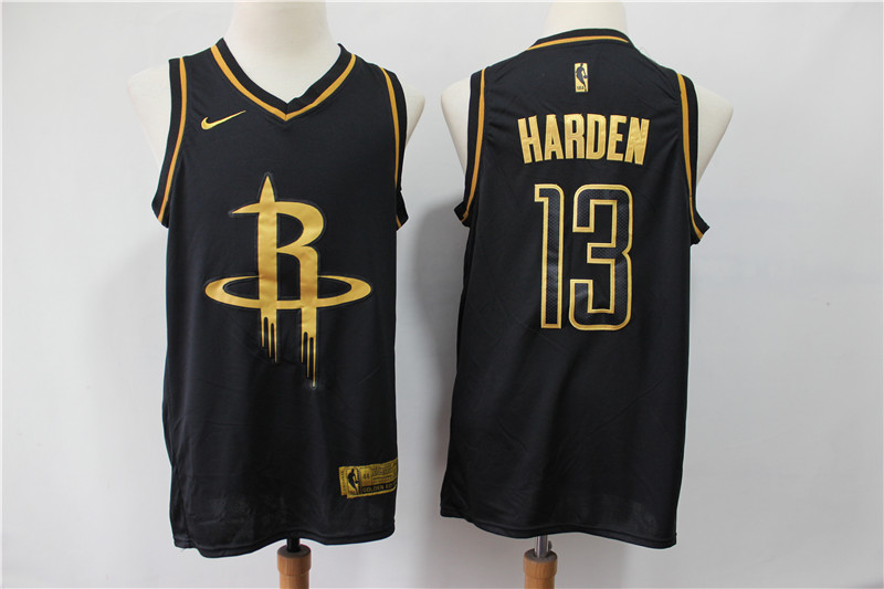 Men's Houston Rockets #13 James Harden Black Gold Stitched NBA Jersey
