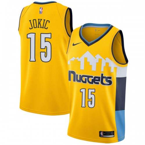 Men's Denver Nuggets #15 Nikola Jokic Yellow Swingman Stitched NBA Jersey