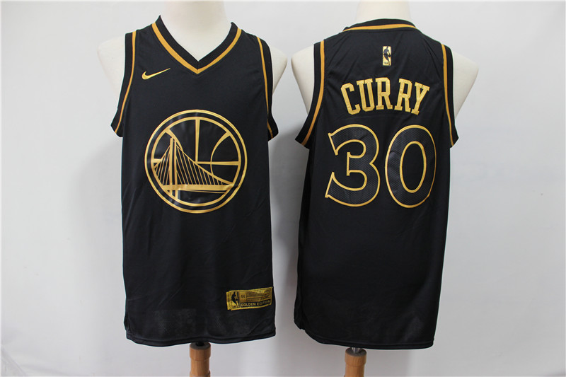 Men's Golden State Warriors #30 Stephen Curry Black Gold Stitched NBA Jersey