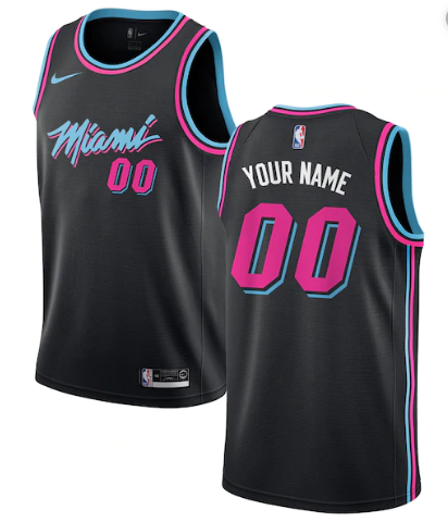 Men's Miami Heat Active Player 2019 Black Custom Stitched NBA Jersey