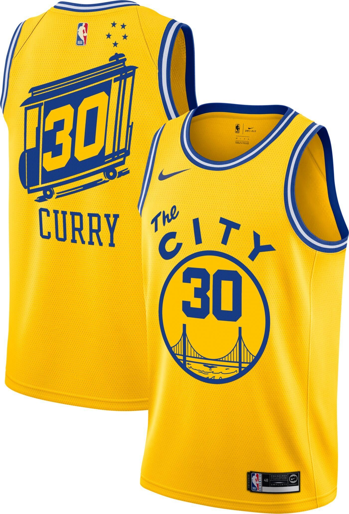 Men's Golden State Warriors #30 Stephen Curry Gold City Classic Edition Stitched NBA Jersey