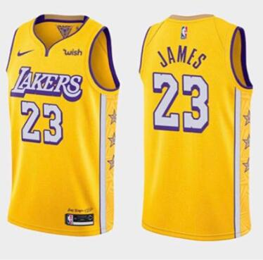 Men's Los Angeles Lakers #23 LeBron James Gold Stitched Jersey