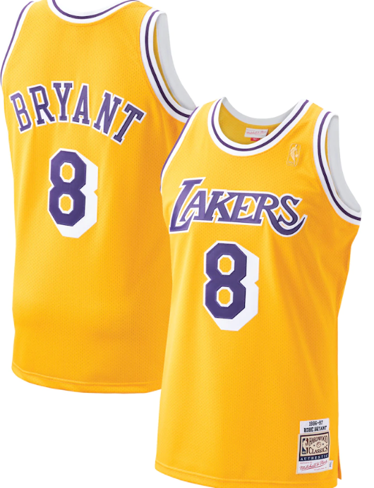 Men's Los Angeles Lakers #8 Kobe Bryant Mitchell & Ness 1996-1997 Gold Hardwood Classics Stitched Jersey