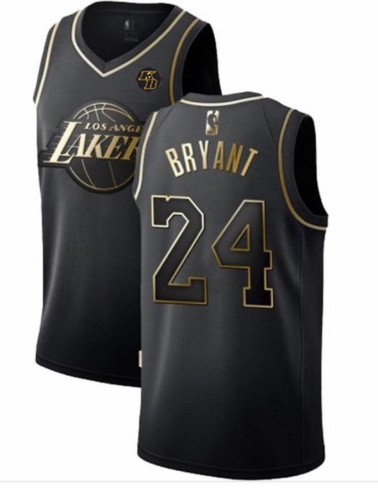 Men's Los Angeles Lakers #24 Kobe Bryant Black Golden Edition With KB Patch Stitched Jersey