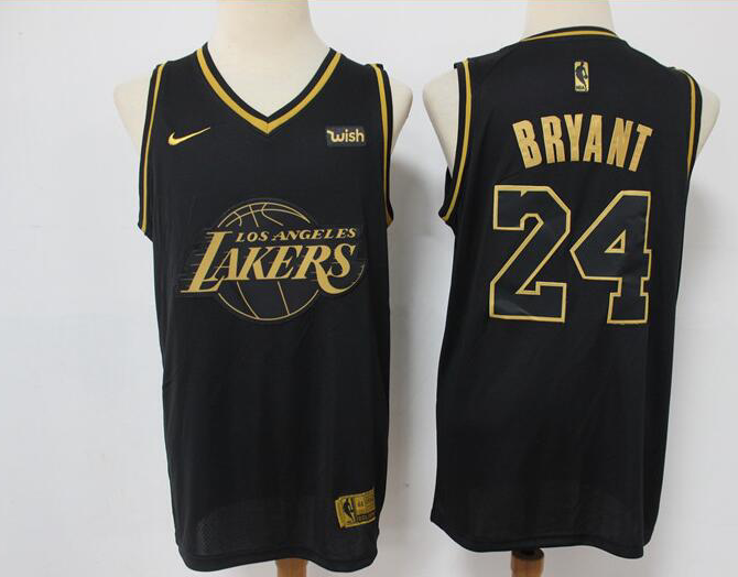Men's Los Angeles Lakers #24 Kobe Bryant Black Golden Edition Stitched Jersey
