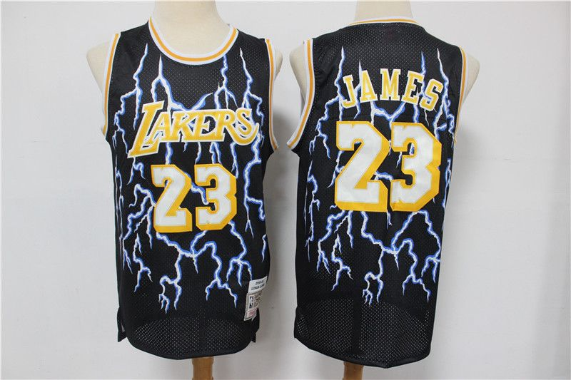 Men's Los Angeles Lakers #23 LeBron James Black Hardwood Classics Lightning Limited Edition Stitched Jersey